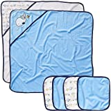 Koala Baby Boys' 2 Pack Towel and 4 Pack Washcloth Set - Blue Whale