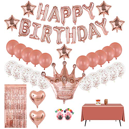Rose Gold Birthday Decorations, Happy Birthday Banner Party Supplies Set 46pcs, 16inch Birthday Balloons for Women Girls include Crown Heart Star, Glasses, Tablecloth Foil Fringe Curtain for Party Decor Wedding Anniversary