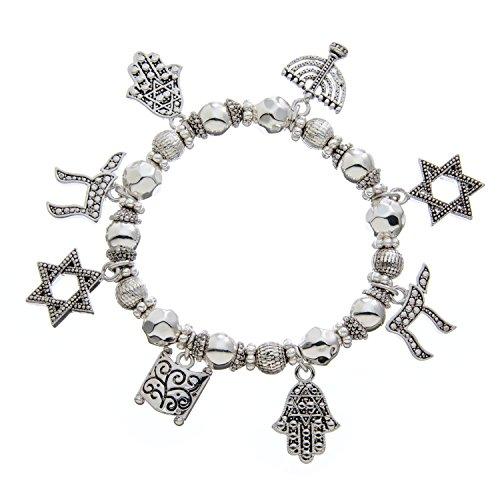 pammyj jewish charm star of david menorah stretch bangle