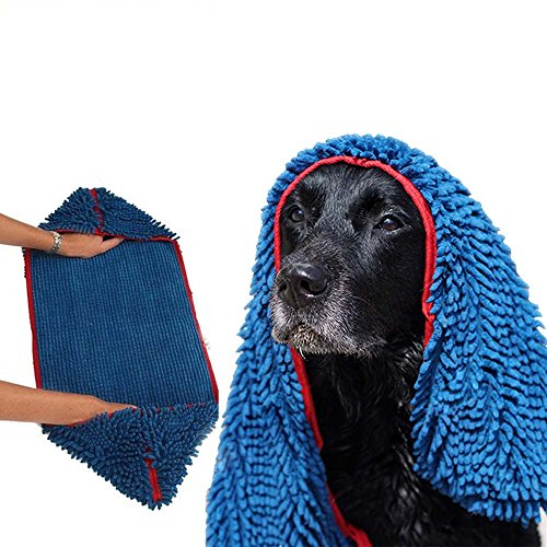 Quick Dry Ultra Absorbent Microfiber Chenille Shammy Dog Towel with Hand Pockets Blue One Size 31 x 13 inch
