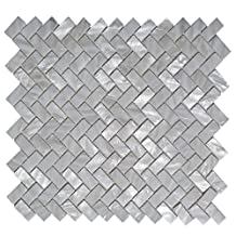 """Art3d Mother of Pearl White Shell Mosaic Tile for Kitchen Backsplashes, Bathroom Walls, Spas, Pools, 12"""" x 12"""" Natural White"""