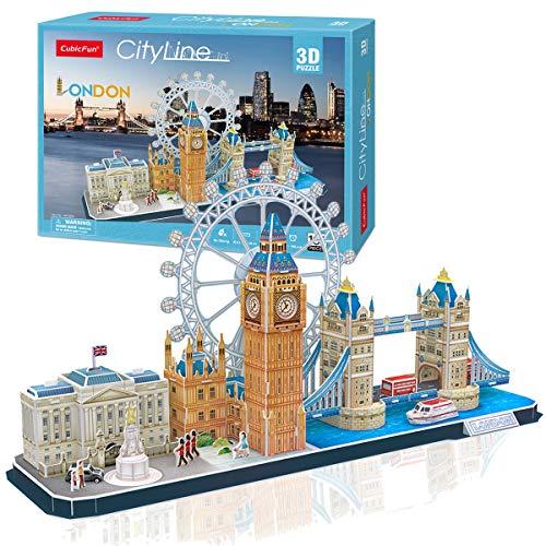 Cubicfun 3D Puzzles Skyline London Architecture Building Model Kits, Buckingham Palace, Big Ben, London Eye, Tower Bridge 3D Puzzles for Adults and Children, 107 Pieces