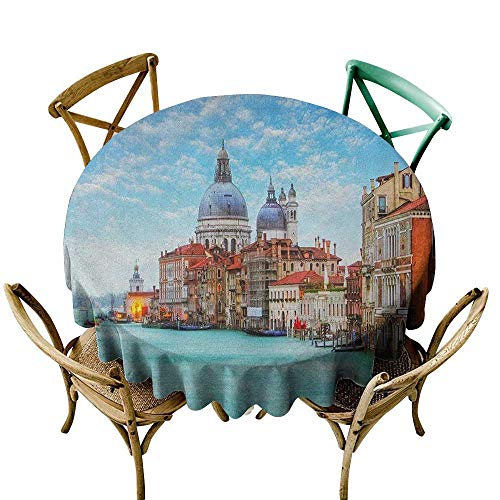 cloth 70 inch Italy,Grand Canal and Basilica Santa Maria Della Salute Historical Architecture, Blue Turquoise Orange Indoor/Outdoor Spillproof Table Cloth ()