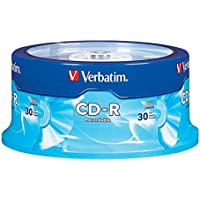 Verbatim CD-R 700MB 80 Minute 52x Recordable Disc for Data and Music- 30 Pack Spindle, Silver