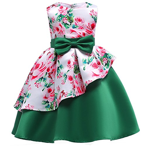 Niyage Girls Princess Retro Party Wear Prom Gown Flower Dress A-Green 2-3 Years