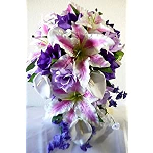 Lavender Purple Fuchsia Rose Tiger Lily Cascading Bridal Wedding Bouquet & Boutonniere 4