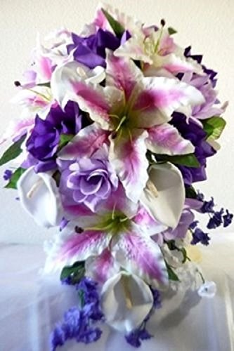 Lavender Purple Fuchsia Rose Tiger Lily Cascading Bridal Wedding Bouquet & Boutonniere