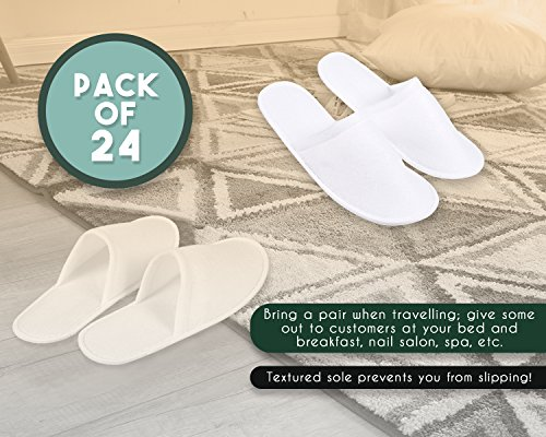 Juvale 24 Pairs Disposable Slippers - Great for Hotel, Spa, Guest, Nail Salon Use - Non-Slip - Made From Fleece, White - fits up to US Men's Size 10 and US Women's Size 11 by Juvale (Image #3)