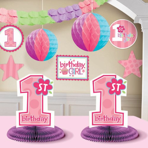 CelebrateExpress 1st Birthday Girl Decorating Kit Party Supplies