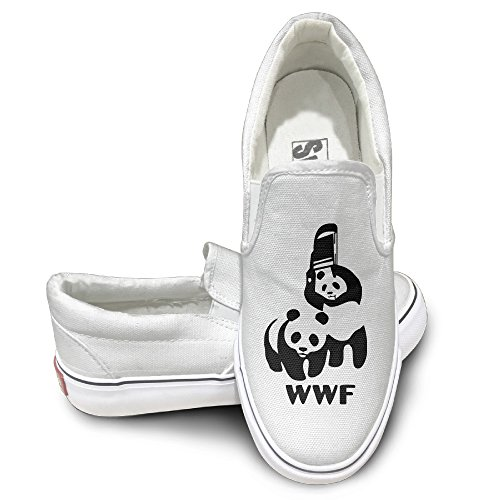 [EWIED Unisex Classic WWF PANDA WRESTLING SAVE THE PANDA Slip-On Shoes White Size44] (Tim Drake Costume)