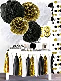 Black Gold White Party DecorationsTissue Paper Pom Pom Paper Tassel Garland for Great Gatsby Decorations /30th/50th/60th/80th Birthday Decorations/Bridal Shower Decorations/Black Gold Party Supplies