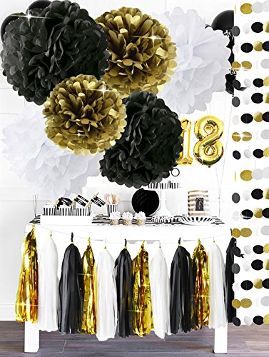 Happy New Year Party Decorations Black White Gold Tissue Paper Pom Pom Paper Tassel Garland for Great Gatsby Decorations/ New Years Eve Party /Birthday Decorations/Bridal Shower Decorations