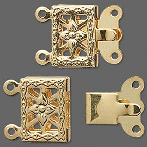 BOX CLASPS 2 and 3 strand choice 10x7mm ORNATE FLOWER FILIGREE 10 Clasps (Gold Plated (Filigree Clasp Bracelet)