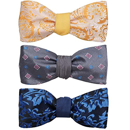 BMC 3pc Set - Reversible Self Tie Bow Ties for Men - Classic Flat Tip Style Reversible Fashion, Adjustable Bowties for Formal Tuxedo or Semiformal Events (Reversible Mens Tie)