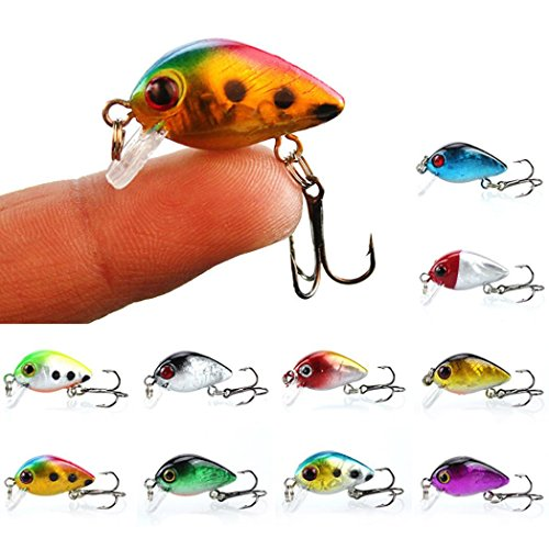 Fishing Lures Tackle,10Pcs/Lot 3cm 2g ABS Hard Plastic Worm Fishing Lures With 1 Carbon Steel Treble Hooks, Bream Bait With Portable Carry Bag For Minnow Fish Bass By Spbamboo