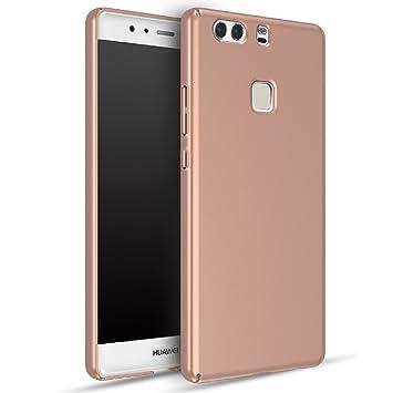 Huawei P9 Plus Carcasa, Panphy Alta calidad Ultra Slim Hard sedoso Scrub Shell plena protección trasera piel siento cover para Huawei P9 Plus Oro Rosa
