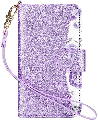 Ipod Touch Folio Case - ULAK Wallet Case for iPod Touch 6/ iPod Touch 5, Bling Glitter PU Leather Case with Multi Credit ID Card Holders Pockets Folio Magnetic Closure Cover, Purple