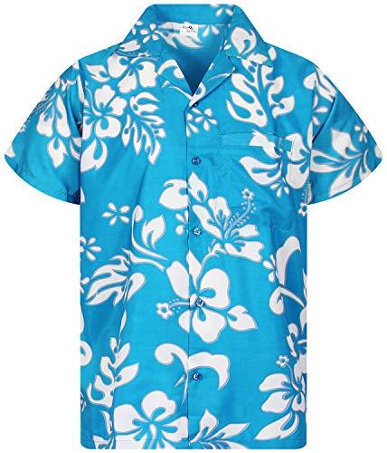 (Funky Hawaiian Shirt, Shortsleeve, Hibiscus, Turquoise, XXL )