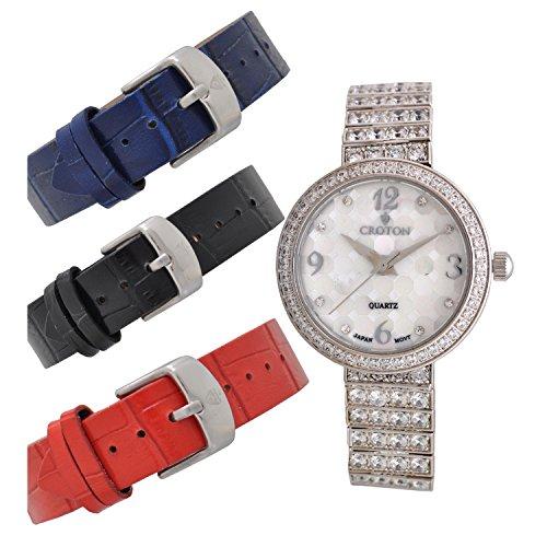 CROTON Women's Bracelet Set Quartz Watch with Stainless-Steel Strap, Silver, 13.86 (Model: CN207555RHMP)