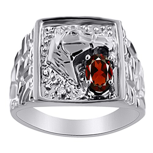 Rylos Diamond & Garnet Ring Sterling Silver or Yellow Gold Plated Lucky Horse Head