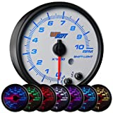 GlowShift White 7 Color 3 3/4 In Dash Tachometer Gauge