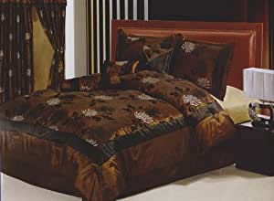 Queen Size Bed-in-a-bag 7 Pc. Comforter Bedding Set - Brown Color with Beautiful Floral Flocking Texture
