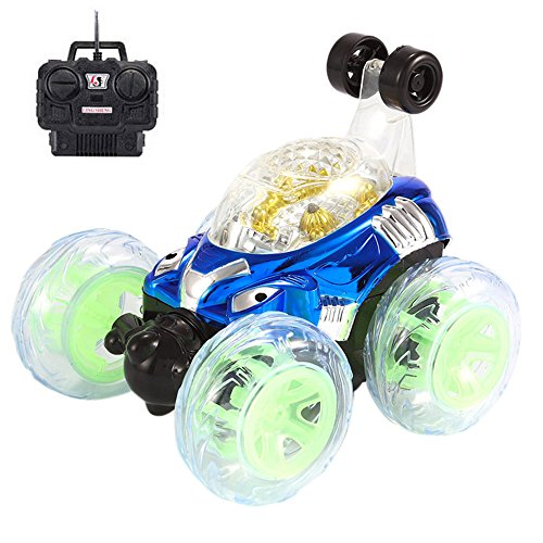 (Sikye Remote Control Vehicles,Stunt RC Car, Rechargeable 360°Spinning and Flips with Color Flash & Music,Gift for Kid Boys Girls (Blue))
