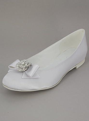 Ballerine Mariage Blanche ou Ivoire nœud et Bijou  Amazon.fr  Chaussures et  Sacs 40a1a6e5433b