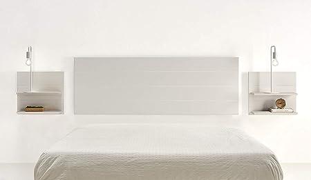 Original y exclusivo conjunto para el dormitorio compuesto por cabecero de madera lacado color blanc