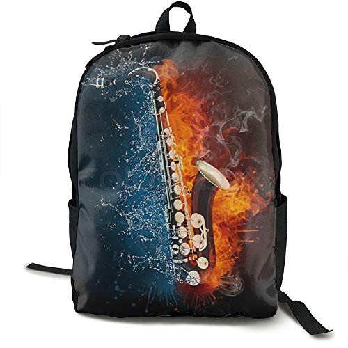 Fashion Water And Fire Saxophone.jpg College Student School Backpack KIDHJU Brand For Men's And Women - 349tg1u Storefront