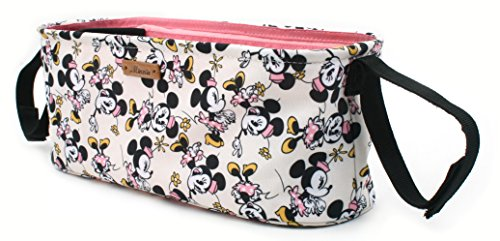 Disney Smile Mickey Minnie Mouse Organizer Diaper Storage Space for Cup Hoders, iPhones, Diapers, Toys (Ivory) by DisneyBagStore (Image #1)