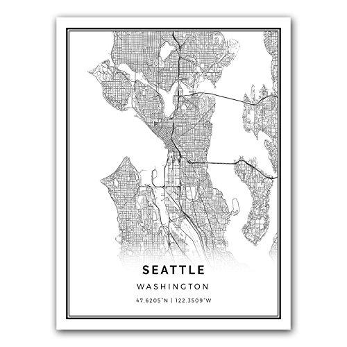 Seattle map poster print | Modern black and white wall art | Scandinavian home decor | Washington City prints artwork | Fine art posters 18x24
