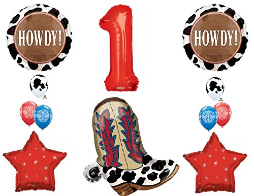 1st Birthday Cowboy Boots Howdy Party Balloons Decoration