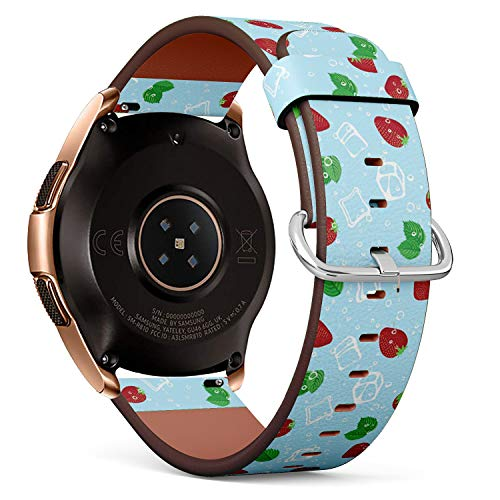 Compatible with Samsung Galaxy Watch (42mm) - Quick-Release Leather Band Bracelet Strap Wristband Replacement - Strawberry Mojito -