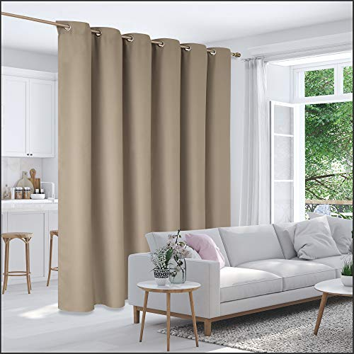 Deconovo Privacy Room Divider Curtain Thermal Insulated Blackout Curtains Screen Partition Room Darkening Panel for Shared Bedroom, 10ft Wide x 8ft Tall 1 Panel Khaki