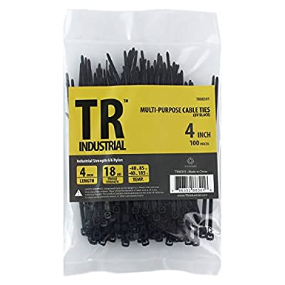 "TR Industrial TR88301 Multi-Purpose Cable Ties (100 Piece), 4"", Black by Capri Tools"