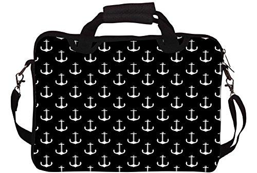 Snoogg Schwarzweiß-Anchors Gedruckt Notebook-Tasche mit Schultergurt 15 bis 15,6 Zoll