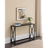 Grey Finish Top / Black Metal Frame X-Design Console Sofa Table 44W