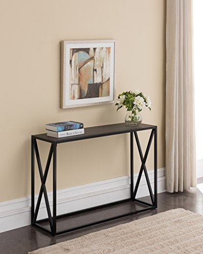 Grey Finish Top / Black Metal Frame X-Design Console Sofa Table 44″W