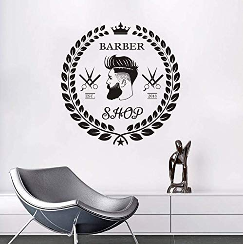 pbldb Vinyl Wall Sticker Barber Shop Haircut Beard Face Tools Logo Wall  Decal Hair Salon Removable Murals Hair Cut Window Art57X59 cm