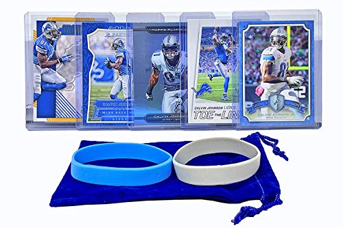 Calvin Johnson Football Cards (5) Assorted Bundle - Detroit Lions Trading Card Gift Set