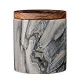 Bloomingville Marble Jar with Mango Wood Lid, Gray
