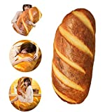 Funny 3D Simulation Bread Shape Pillow Cute Food Pattern Soft Lumbar Back Cushion Plush Stuffed Toy for Home Decor, 31.5inch