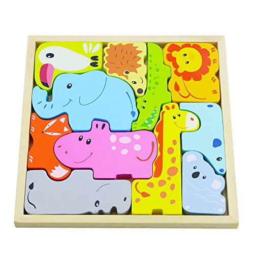 - Acmer Animal Parade Puzzle,An Alphabet of Animals in a Wooden Puzzle,3D Wooden Animal Jigsaw Puzzle Set & Play Pieces with wooden Assembly Tray,Children's wooden animal jigsaw puzzle.