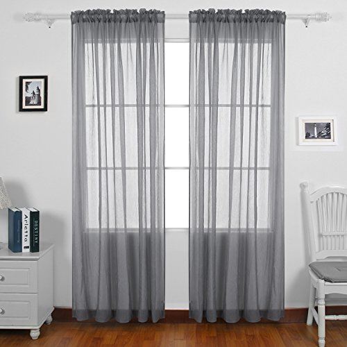 Bon Deconovo Rod Pocket Two Panels Crushed Voile Draperies Sheer Curtains For  Bedroom 52x96 Inch Gray