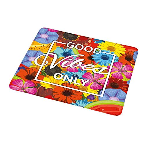 Gaming Mouse Pad Custom Design Mat Good Vibes,Exotic Blossoming Flowers in Lively Colors Spring Summer Season Tropic Accents,Non-Slip Rubber Mousepad -