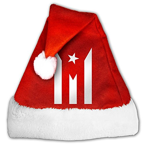 Puerto Rico Resiste Boricua Flag Se Levanta Christmas Xmas Santa Hat,Golden Velvet,Perfect For Children And Adults