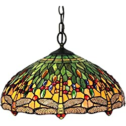 "Amora Lighting AM1027HL18 Tiffany Style Dragonfly Pendant Lamp, 18"", Green"