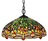 Amora Lighting AM1027HL18 Tiffany Style Dragonfly Pendant Lamp, 18″, Green Review