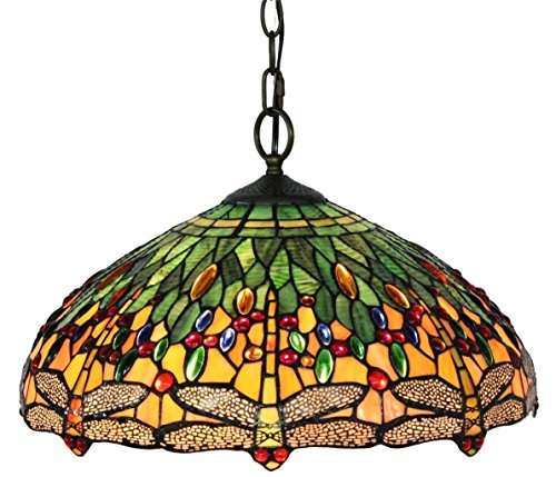 "Amora Lighting AM1027HL18 Tiffany Style Dragonfly Pendant Lamp, 18"", Green from Amora Lighting"